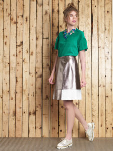 Manley+SS16+Cara+Tee,+Boxter+MEtallic+Skirt,+Cori+Necklace